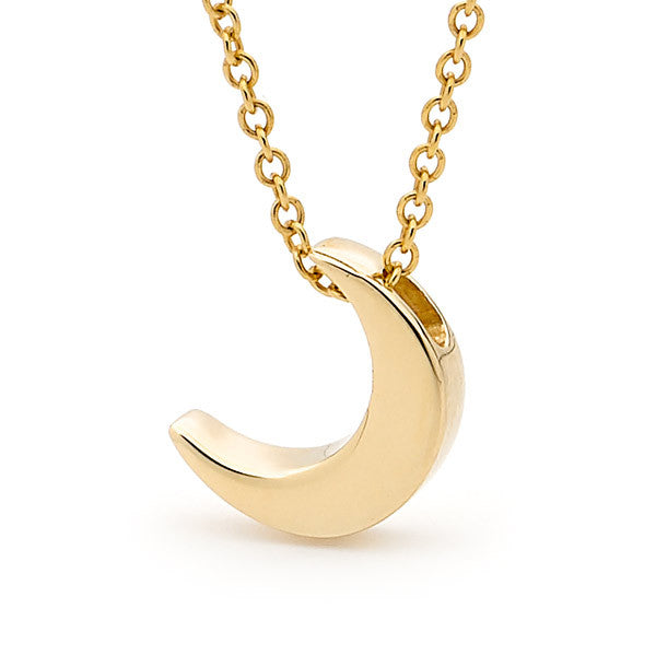 Yellow Gold Baby Crescent Moon Pendant