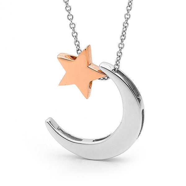 Sterling Silver & Rose Gold 'Moon & Star' Necklace