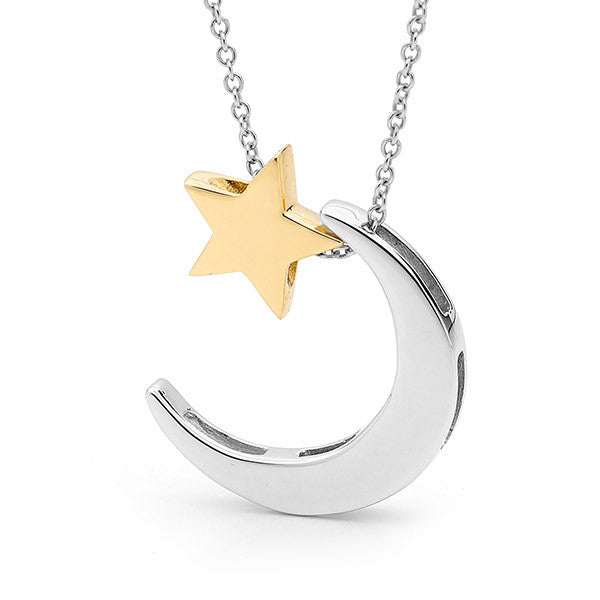 Sterling Silver and Yellow Gold 'Moon & Star' necklace