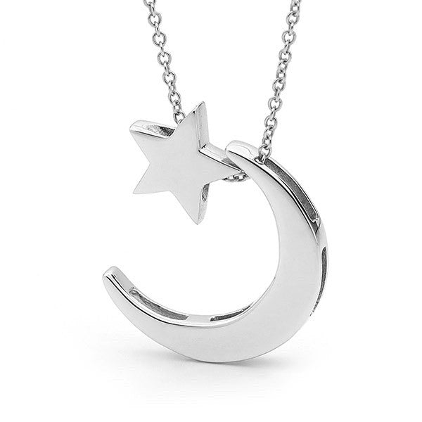 White gold Star and  Moon Necklace