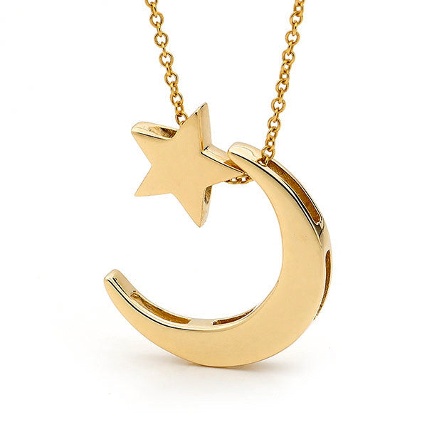 Yellow Gold 'Moon & Star' Necklace