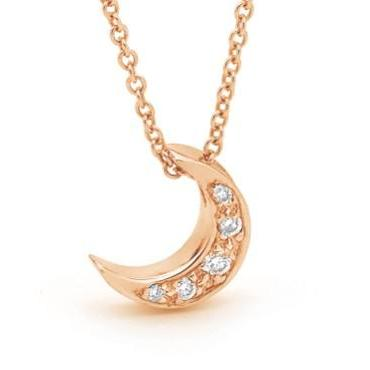 Rose Gold Diamond Baby Moon Pendant