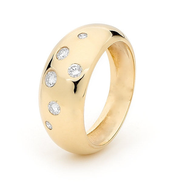 Yellow Gold Diamond 'Eclipse' Ring