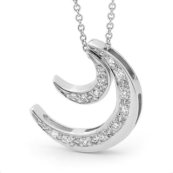 White Gold Diamond ' 2 Moons' Pendant