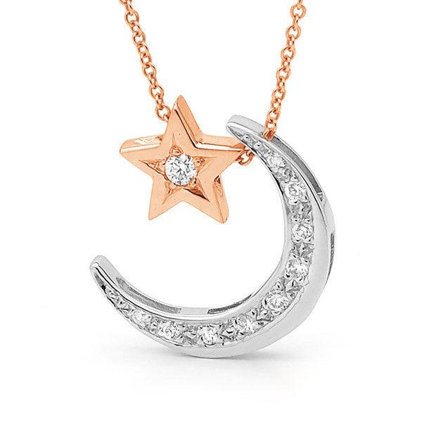 White and Rose Gold Diamond 'Moon' & Star' Necklace