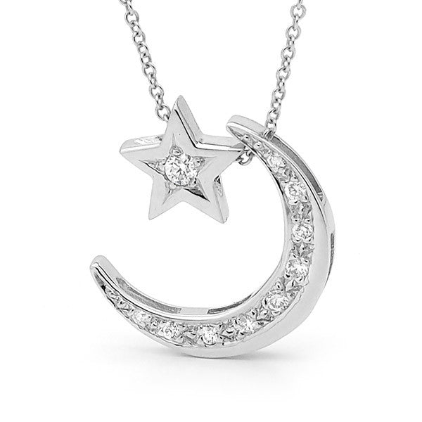 White Gold Diamond 'Moon & Star' Necklace