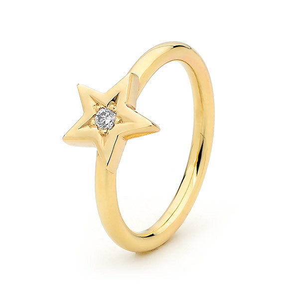 Yellow Gold and Diamond Baby Star ring