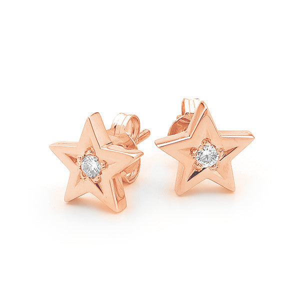 Rose Gold and Diamond Baby Star stud earrings