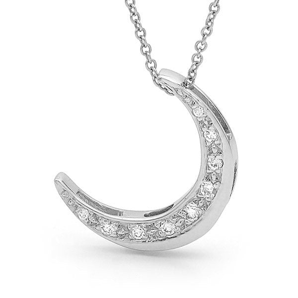 White gold Diamond 'Crescent Moon' Pendant