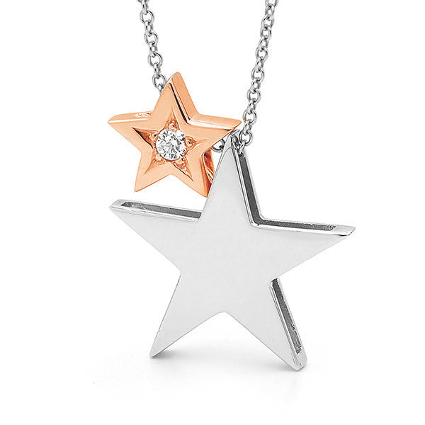 White & Rose Gold diamond '2 Stars' Necklace