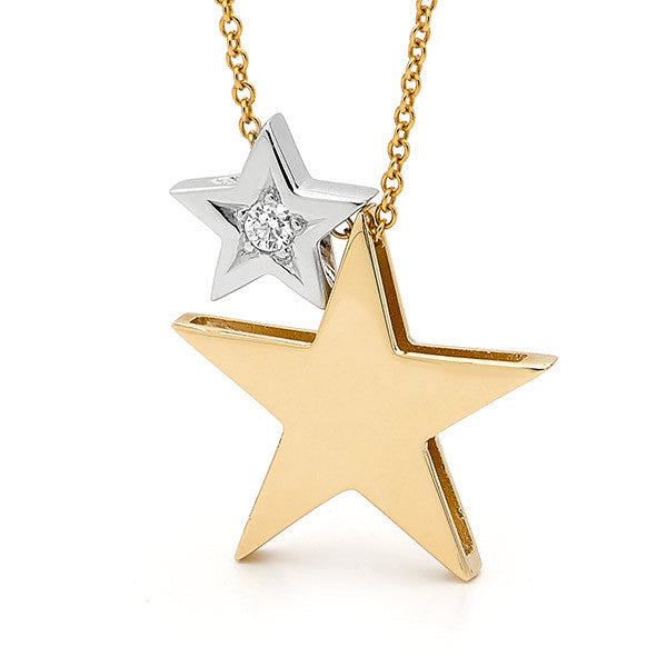 White & Yellow Gold Diamond '2 Stars' Necklace