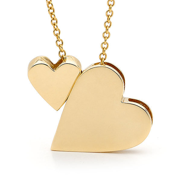 Yellow Gold '2 Hearts' Necklace