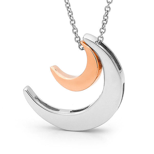 Sterling Silver & Rose Gold '2 Moons' Necklace