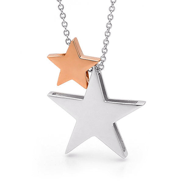 Sterling Silver & Rose Gold '2 Stars' Necklace