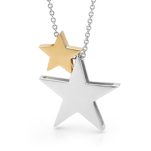 Sterling Silver & Yellow Gold '2 Stars' Necklace