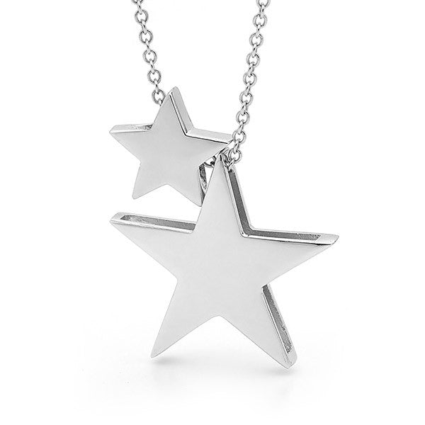 Sterling Silver 2 Stars Necklace