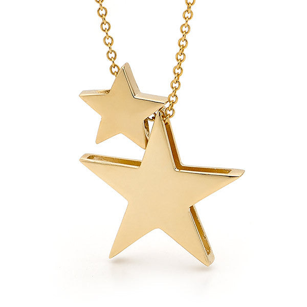 Yellow Gold '2 Stars' Necklace