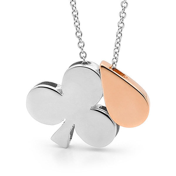 Sterling Silver & Rose Gold 'Club & Drop' Necklace