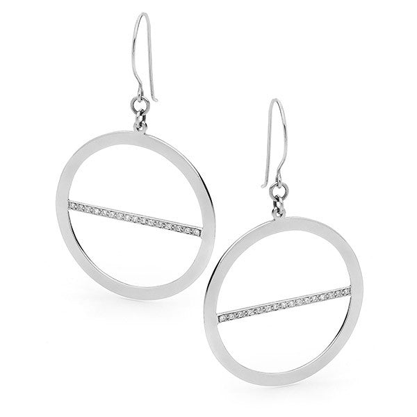 White Gold Lunar Eclipse Earrings