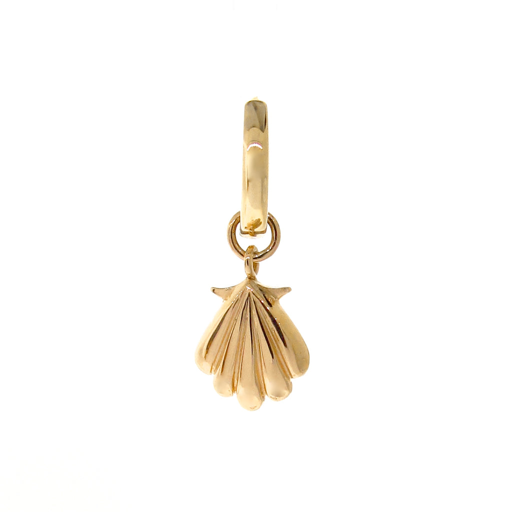 Yellow Gold Plain or Pearl Drop Clam Shell Huggie Charm