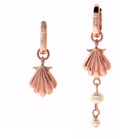 Rose Gold Plain or Pearl Drop Clam Shell Huggie Charm