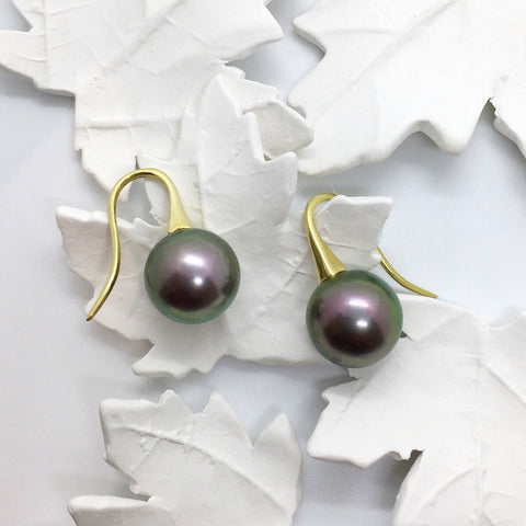 18ct Yellow gold Tahitian Pearl Short Drop Earrings