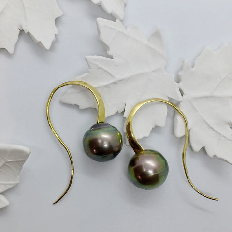 Yellow Gold Curve Tahitian Pearl Drop Earrings