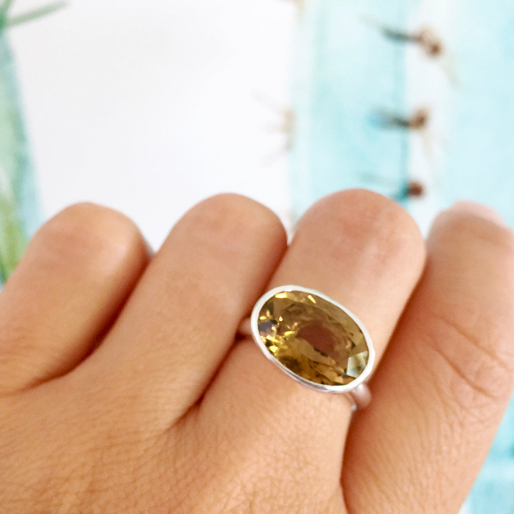 Sterling silver Large Oval Whiskey Quartz Simplicity Ring