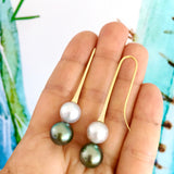 Yellow Gold Tahitian & South Sea Pearl Long Drop Earrings