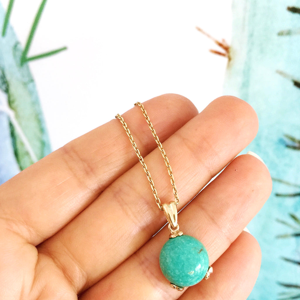 Yellow Gold Turquoise Small Era Necklace