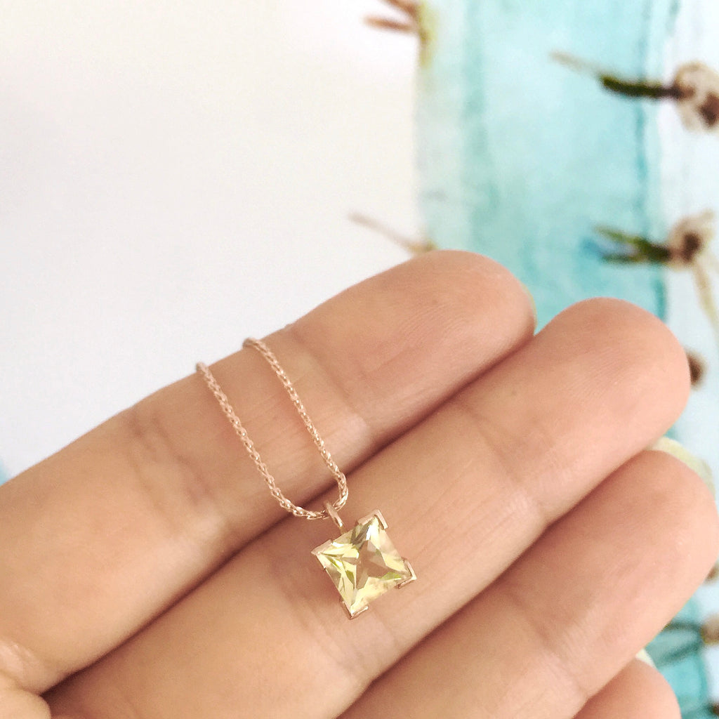 Rose Gold Small Princess Cut Lemon Quartz Necklace