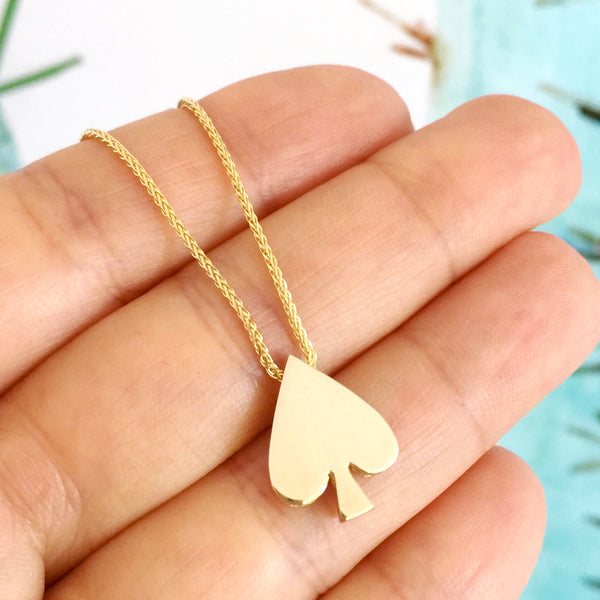 Yellow Gold 'Spade' Playing cards 40cm Necklace
