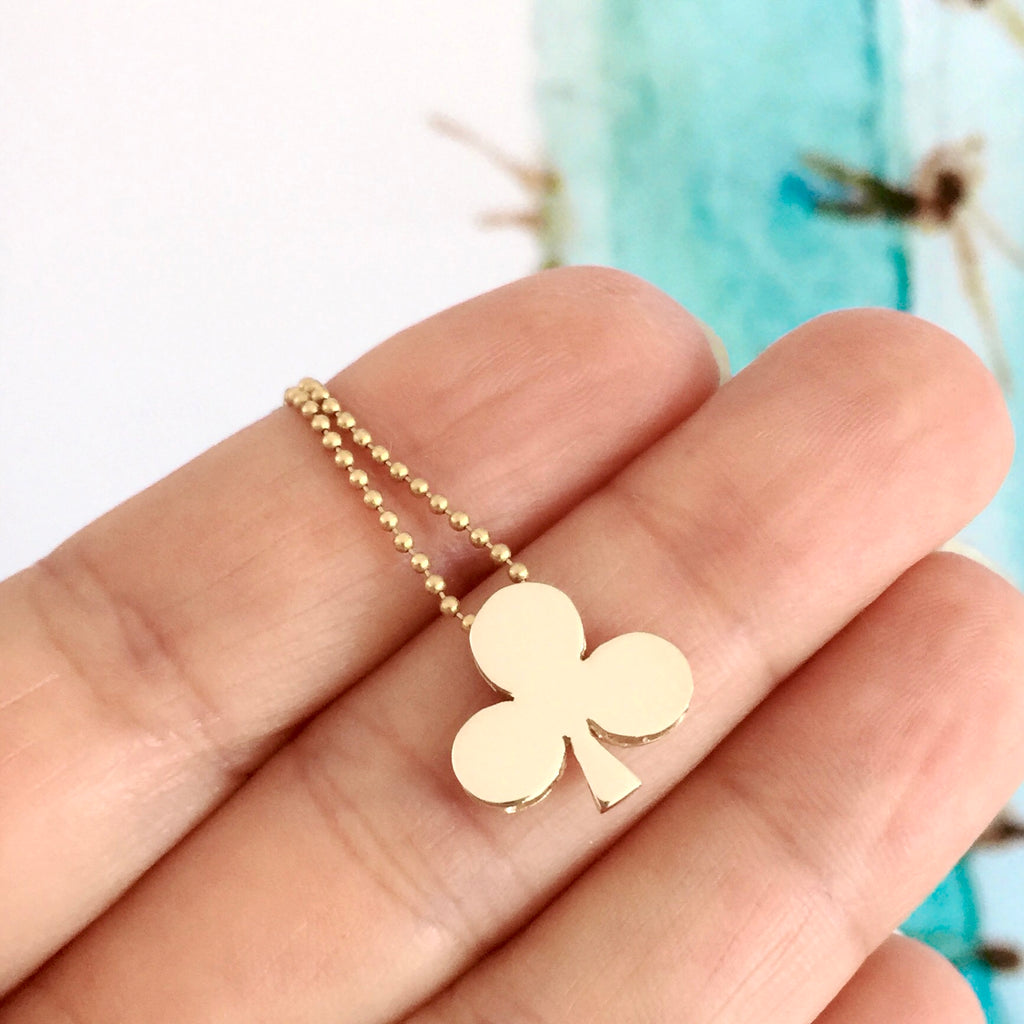 Yellow Gold 'Club' Playing cards 42cm Necklace