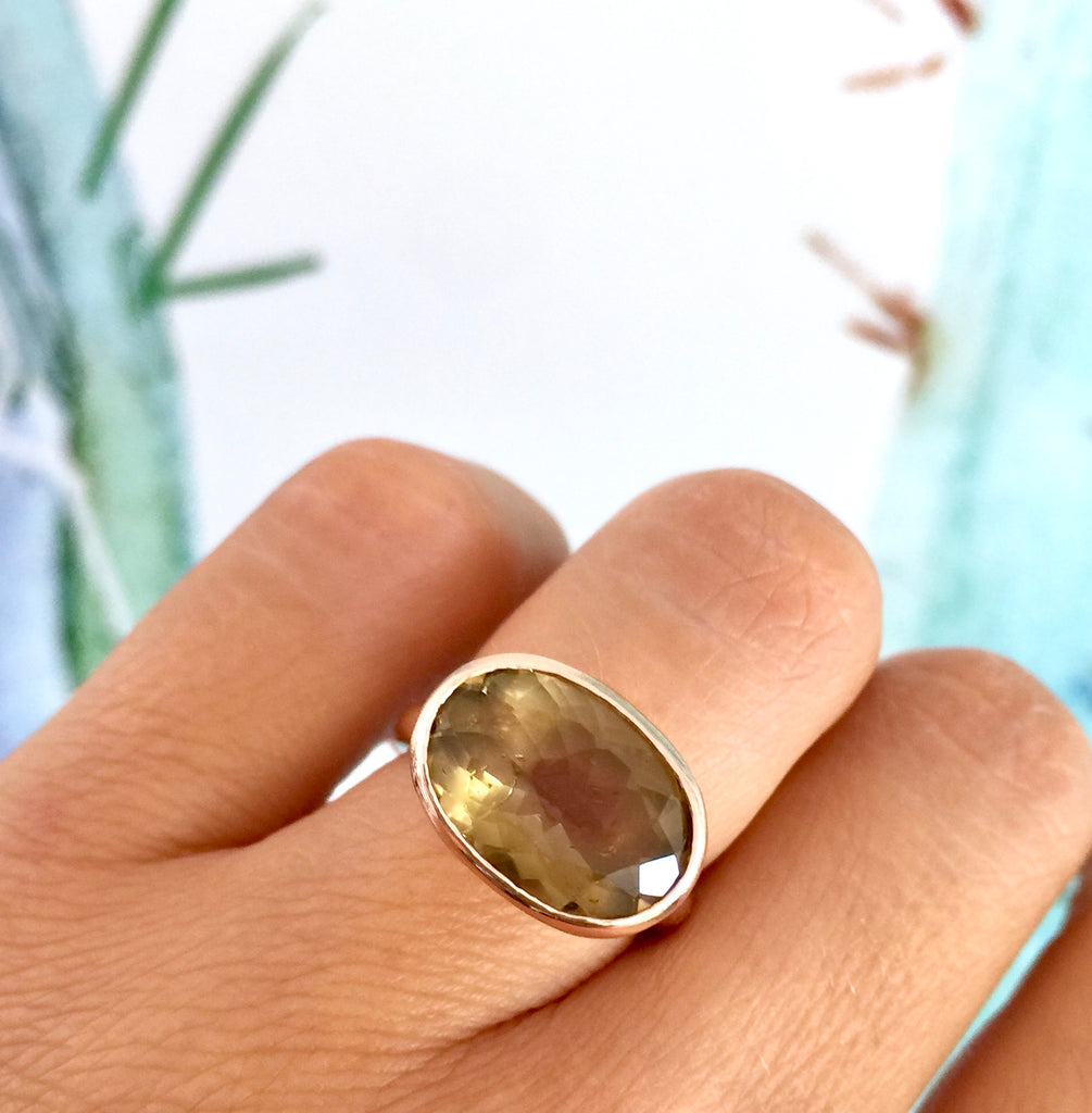 Rose Gold Whiskey Quartz Large Oval Simplicity Ring