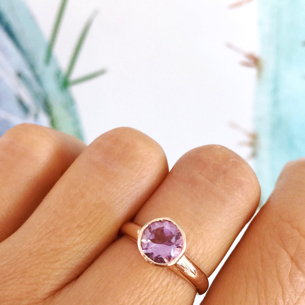 Rose Gold Round Rose Amethyst Simplicity Ring