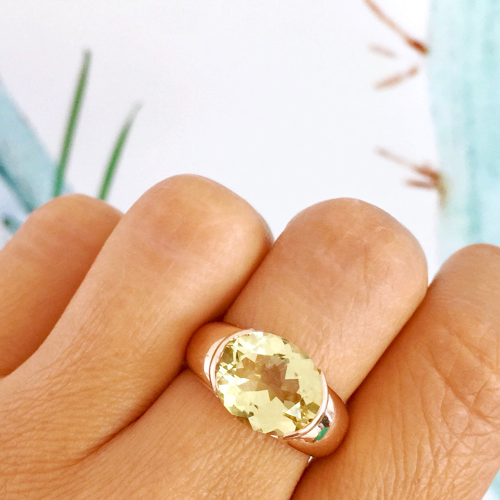 Rose Gold Oval open set Lemon Quartz Ring