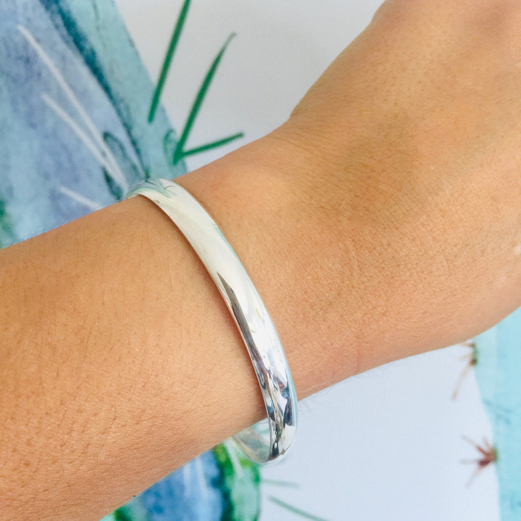 Sterling Silver half round OVAL Solid Bangle ( small )