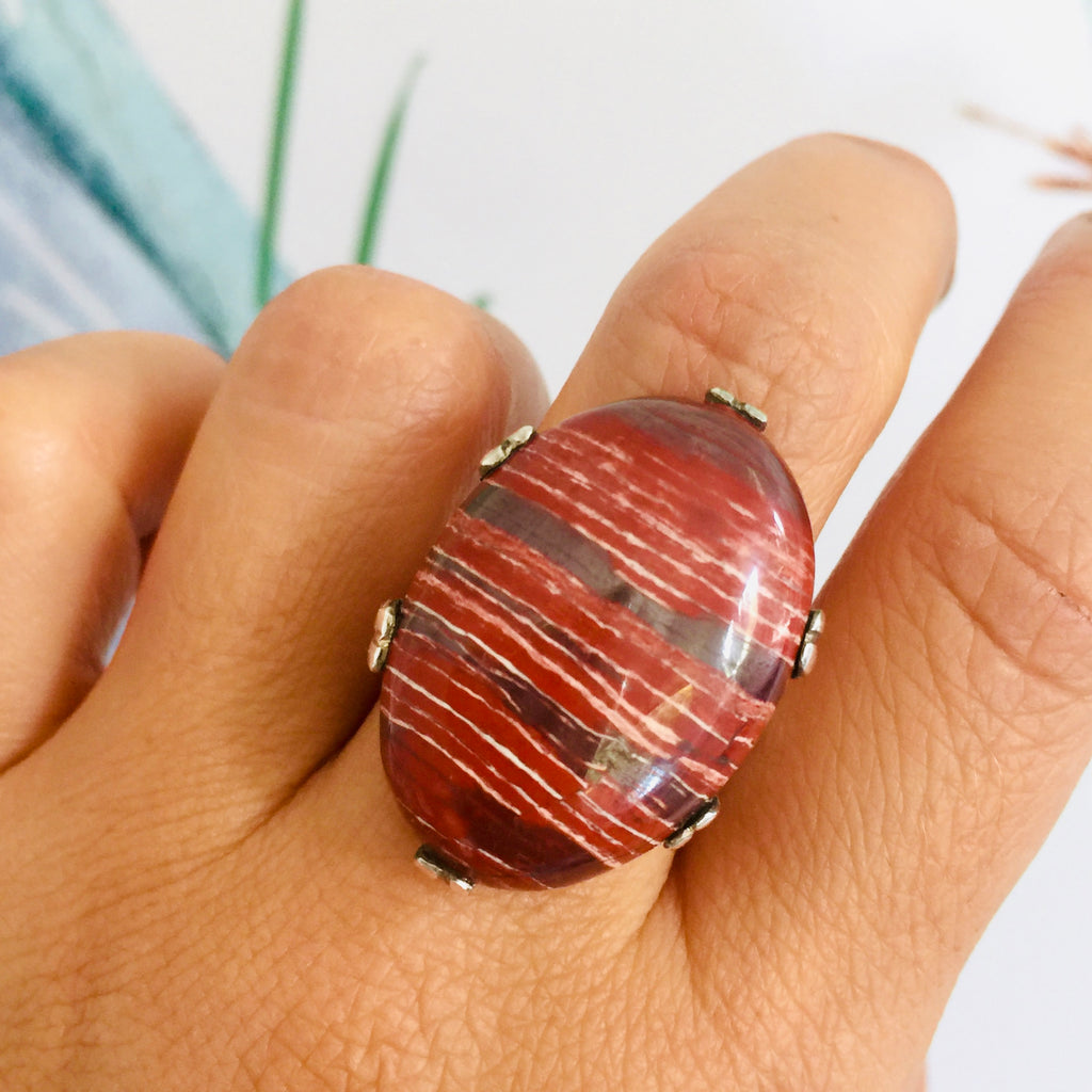 Large Sterling Silver Oval Snakeskin Jasper Era Ring
