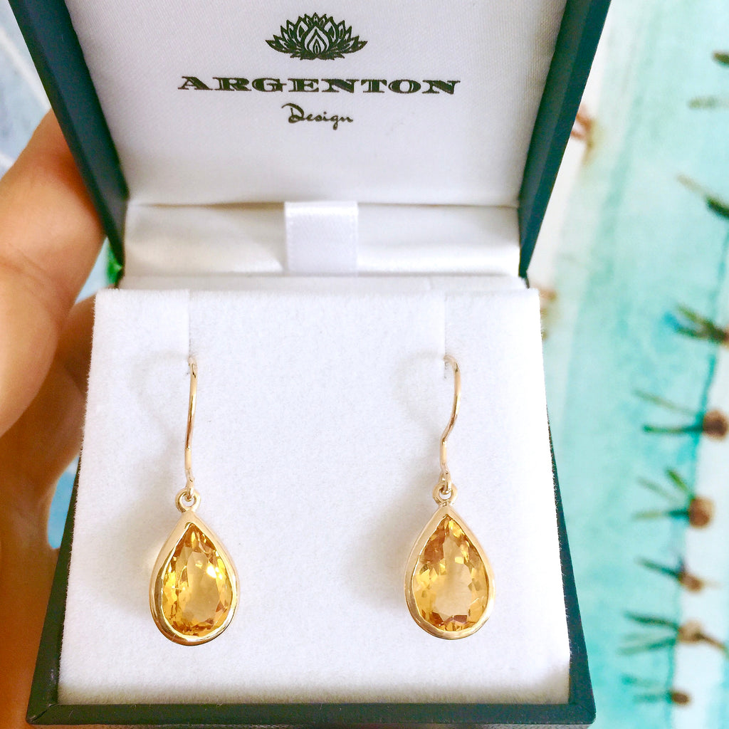 Yellow Gold Citrine Drop Earrings
