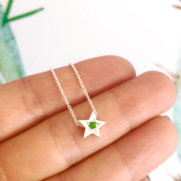 Sterling Silver & Tsavourite Garnet Baby Star Necklace