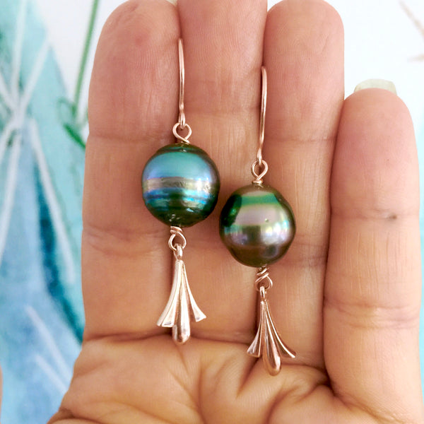 Rose Gold  Tahitian Pearl Fleur De Lis Earrings