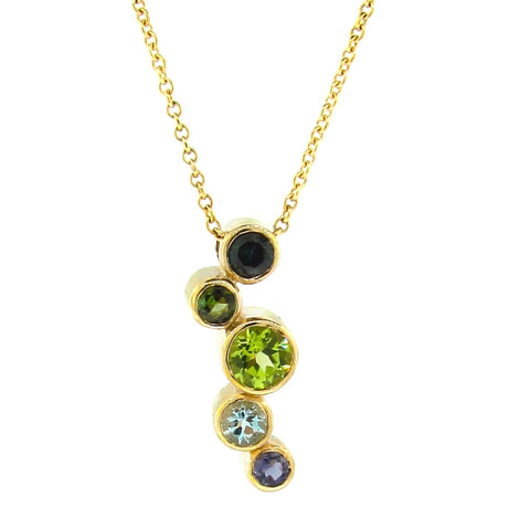 Yellow Gold 'Line Bubbles' Pendant