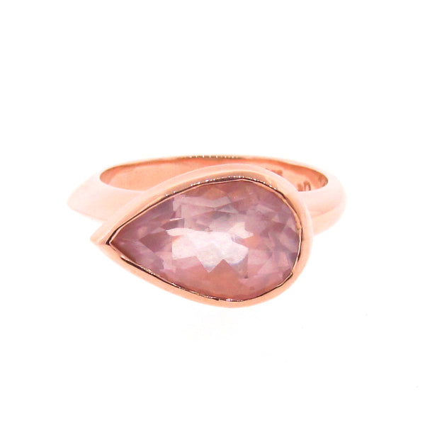 Rose Gold Simplicity Pear Rose Quartz Ring