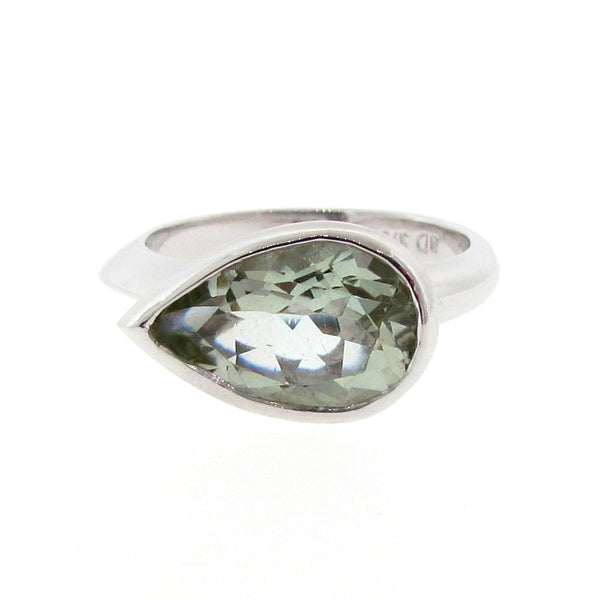White Gold Simplicity Pear Green Amethyst Ring