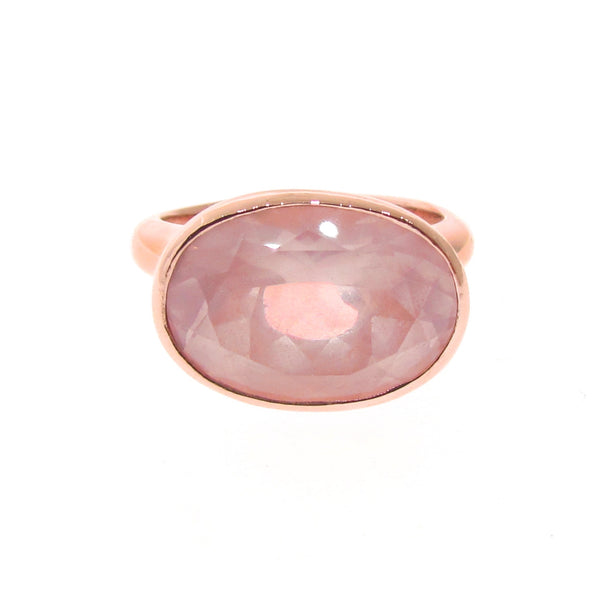 Rose Gold Large Oval Simplicity Rose Quartz Ring