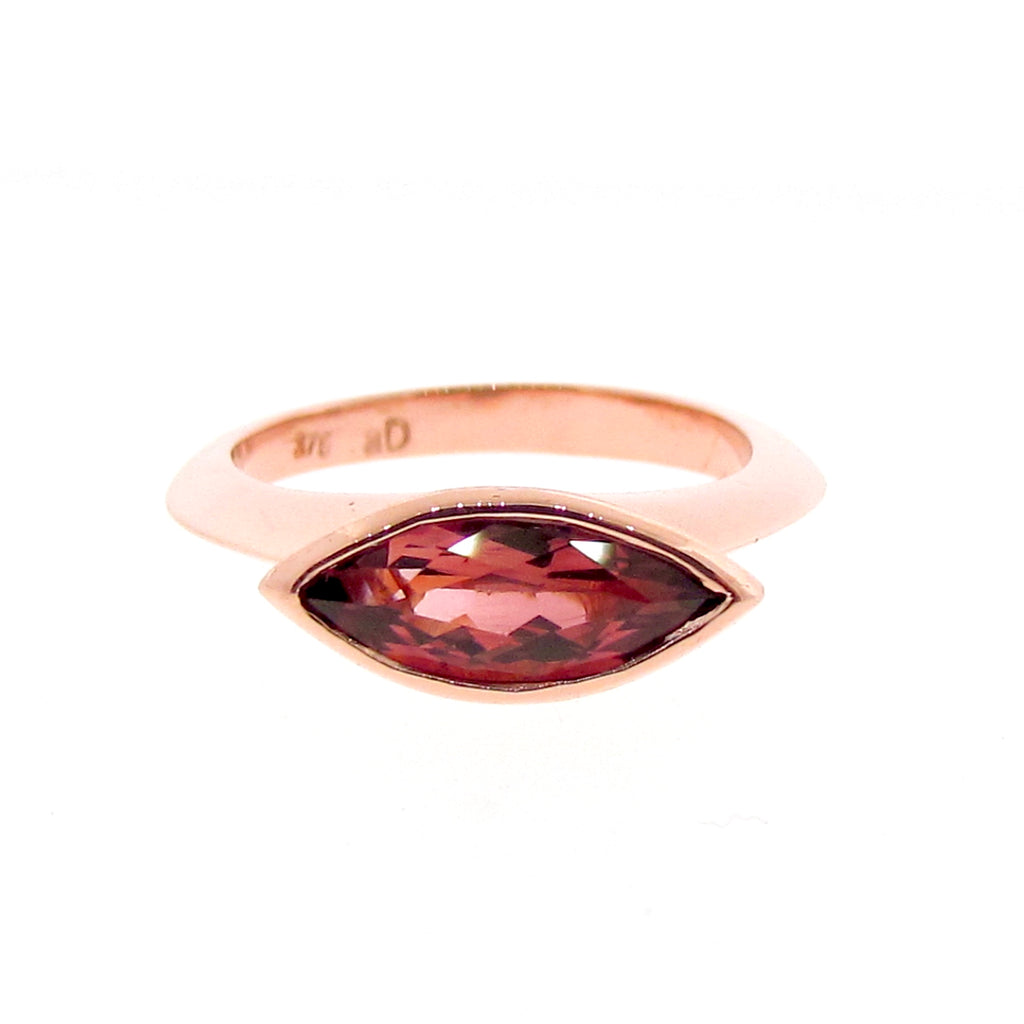 Rose Gold Simplicity Marquise Pink Tourmaline Ring