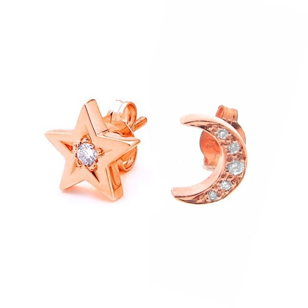 Rose Gold Diamond Moon And Star Stud Earrings Argenton Design
