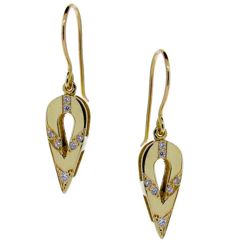 Yellow Gold Small Diamond Travelling Earrings