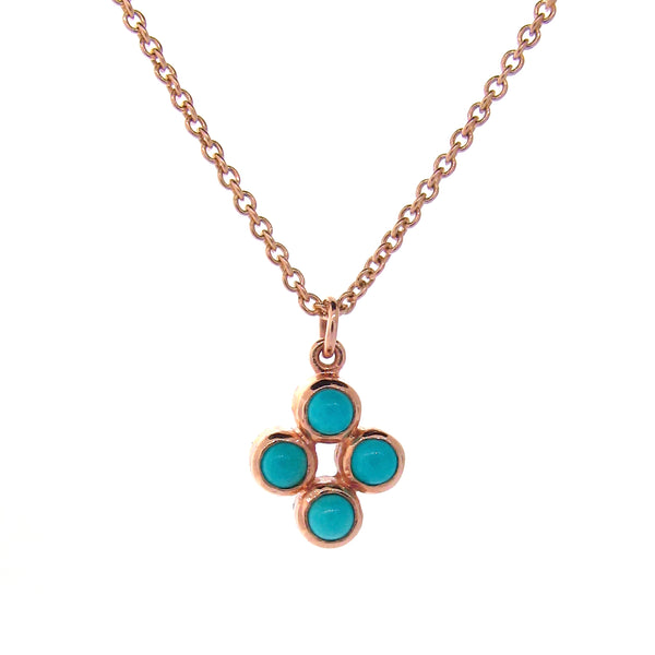 Rose Gold Turquoise Quattro Bubble Pendant
