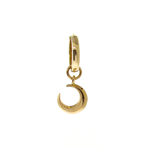 Yellow Gold Crescent Moon Huggie Charm